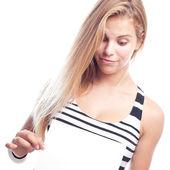 Młoda kobieta fajne z tabliczki — Zdjęcie stockowe