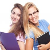 Young cool women student with folders — Stock Photo
