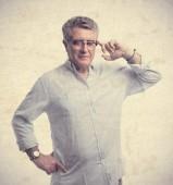 Senior cool man remembering — Stock Photo