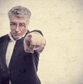 Senior cool man angry boss pointing — Stock Photo