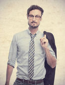 Young crazy businessman proud pose — Stock Photo