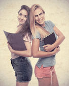 Young cool women student with folders — Foto de Stock