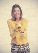 Young cool woman with piggy bank — Photo