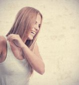 Young cool woman laughing — Stockfoto