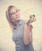 Young cool woman solving a challenge — Stockfoto
