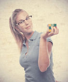 Young cool woman solving a challenge — Stock Photo