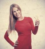 Young cool woman with a drink cup — Stock Photo