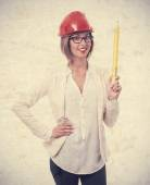 Young cool woman architect — Stockfoto