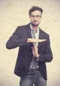 Young crazy businessman time out gesture — Stock Photo