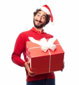 Man with a gift — Stock Photo