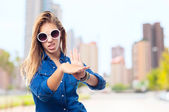 Young cool woman no sign — Stock Photo