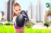 Young cool woman boxing — Stock Photo