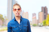 Young cool woman surprised — Stock Photo