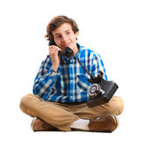 Teenager with telephone — Stock Photo