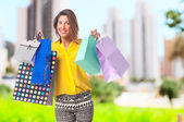Young cool woman shopping — Stock Photo