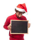 Man with a blackboard — Stock Photo