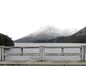 White snow mountain and lake — Stock Photo