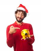 Man with a piggy bank — Stock Photo