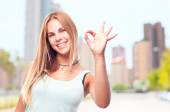 Young cool woman okay gesture — Stock Photo