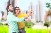 Young cool couple dancing — Stock Photo
