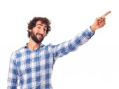Young man pointing at — Stock Photo