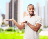 young cool black man show sign — Stock Photo