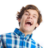 Teenager, evil laugh gesture — Stock Photo