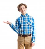 Young boy show gesture — Stock Photo