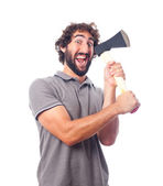 Young crazy man with an ax — Stock Photo