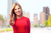 Young cool woman peace concept — Stock Photo