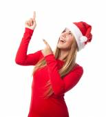 Young girl pointing up — Stock Photo