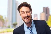 Young crazy businessman with a pure — Stock Photo