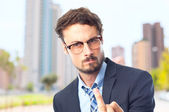 Young crazy businessman disagree gesture — Stock Photo