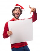 Man with a placard — Stock Photo