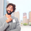 Young crazy man with a name card — Stock Photo #65687847