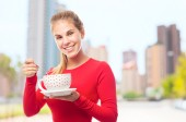 Young cool woman having breakfast — Stock Photo
