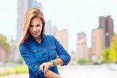 Young cool woman facing to pose — Stock Photo