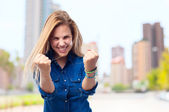 Young cool woman celebrating pose — Stock Photo
