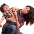 Mother holding her naughty son — Stock Photo #65701459
