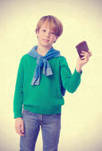 Challenger boy holding a leather wallet — Stock Photo