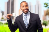 Young cool black man with a coffee — Stock Photo
