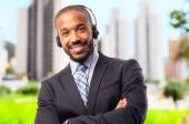 Young cool black man with phones — Stock Photo