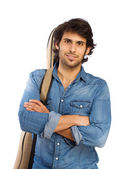 Hindu cool young man with an acoustic guitar — Stock Photo