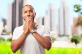 Young cool black man shocked — Stock Photo