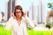 Young cool woman concentrated — Stock Photo