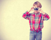 Boy taking a photography — Stock Photo