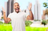 Young cool black man angry gesture — Stock Photo