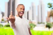Young cool black man disagree sign — Stock Photo