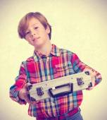 Proud child with a briefcase — Stock Photo