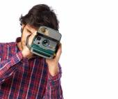 Hindu cool young man with a camera — Stock Photo